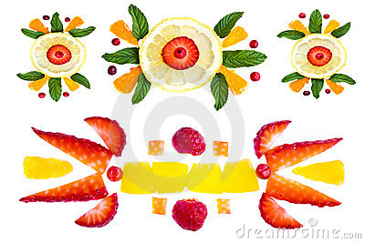 Decorative elements from fruit