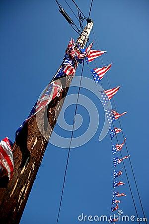 Decorative flags on telephone pole