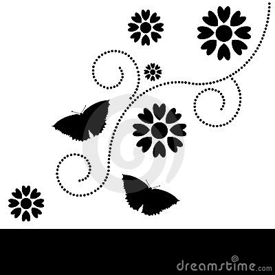 Decorative floral black & white background