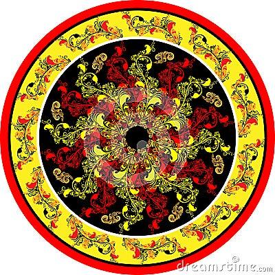 Decorative floral designs in a circle
