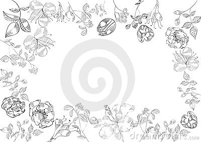 Decorative floral frame (black and white)