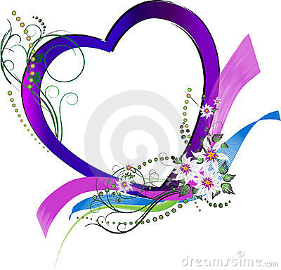 Decorative floral love heart