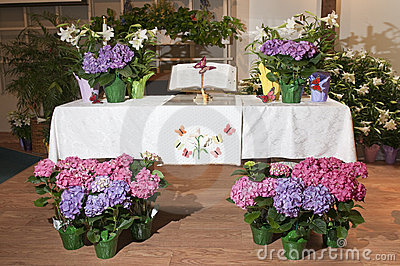 Decorative flowers on altar