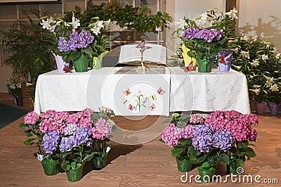 Decorative flowers on altar