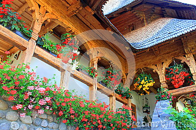 Decorative flowers on traditional romanian house