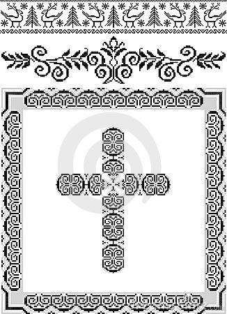 Decorative frame with a cross.Graphic arts.