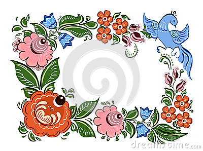 Decorative frame with flowers and in Russian traditional style