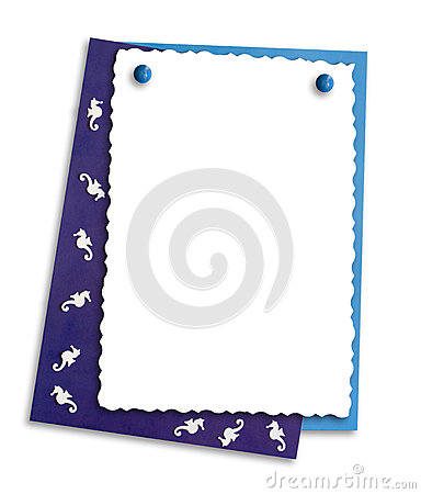 Decorative frame with seahorses, isolate