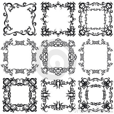 Decorative frame set I b&w