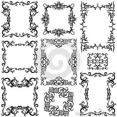 Decorative frame set III b&w