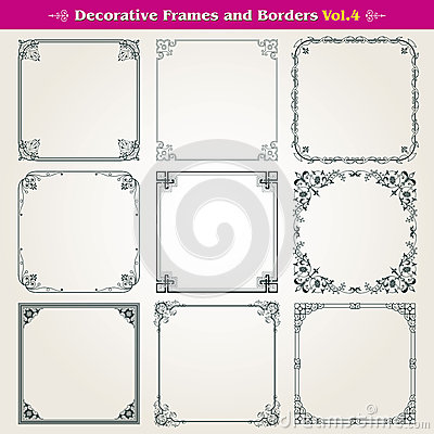 Free Decorative Frames And Borders Set Vector Stock Photography - 42240022