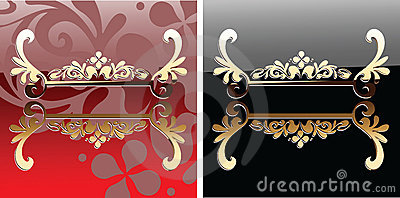 Decorative Glow Ornate Red And Black Banner.