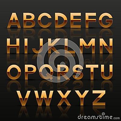 Decorative golden alphabet
