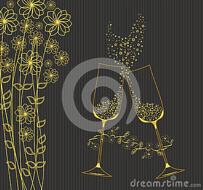 Decorative golden goblets of wine.