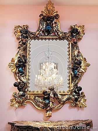 Decorative golden mirror frame