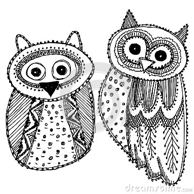 Free Decorative Hand Dravn Cute Owl Sketch Doodle Black Bird On White Background. Adult Coloring. Vector Royalty Free Stock Images - 109009209