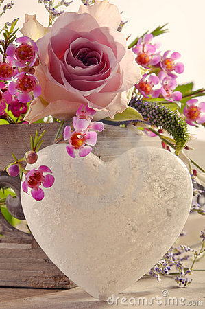 Free Decorative Heart And Flowers Royalty Free Stock Image - 13476896