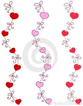 Decorative Heart and Ribbon Borders