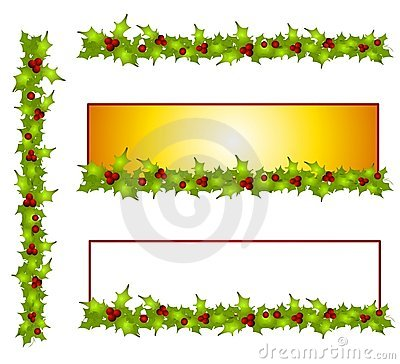 Free Decorative Holly Leave Borders And Banners Stock Images - 3728074