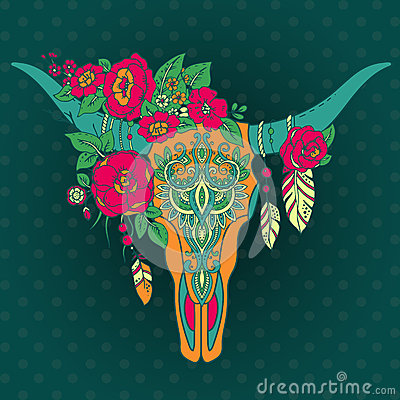 Free Decorative Indian Bull Skull With Ethnic Ornament, Flowers And L Stock Photo - 69138410