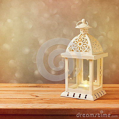 Free Decorative Lantern With Glowing Candle On Wooden Table With Copy Space. Christmas Celebration Stock Photography - 46414492