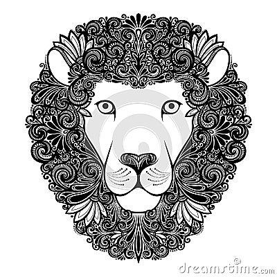 Decorative Lion with Patterned Mane Vector Illustration