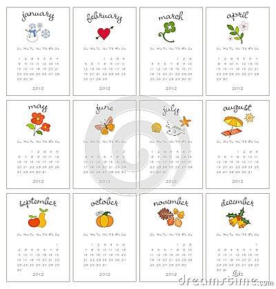 Decorative monthly calendars