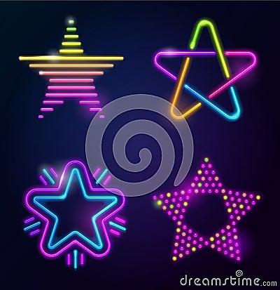 Decorative neon stars