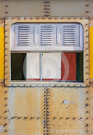 Free Decorative Old Metal Window With Old Train Stock Photo - 35292610