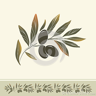 Decorative olive branch.For label, pack.