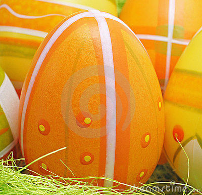 Decorative orange easter egg