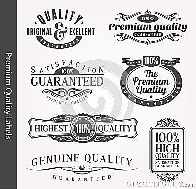 Decorative ornamental emblems of quality