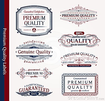 Decorative ornamental emblems of quality
