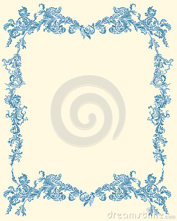 Decorative ornamental floral page blue color