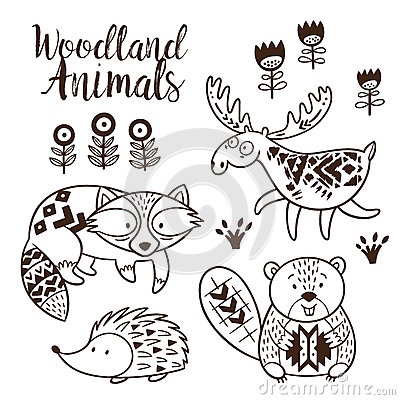 decorative ornamental woodland animals vector set stock vector image 72604915. Black Bedroom Furniture Sets. Home Design Ideas