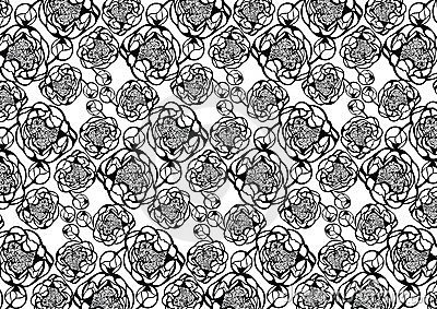 Decorative pattern with ornamental peony