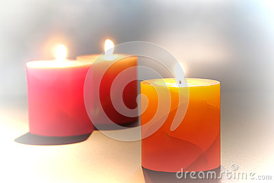 Decorative Pillar Candles Burning for Relaxation