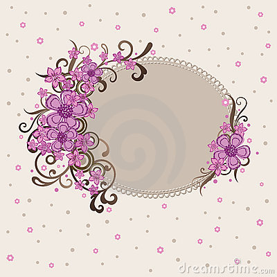Decorative pink floral frame