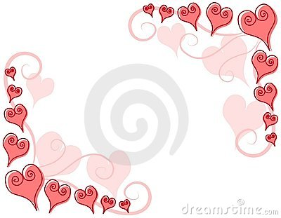 Decorative Pink Hearts Corner Borders