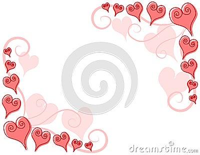 Decorative Pink Hearts Corner Borders