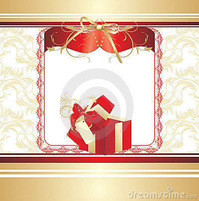Decorative red box with bow. Background for card