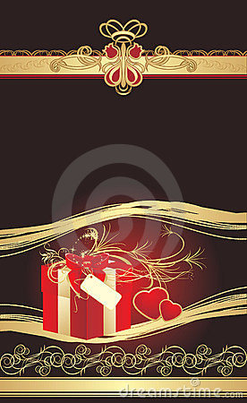 Decorative red box and hearts with gothic ornament