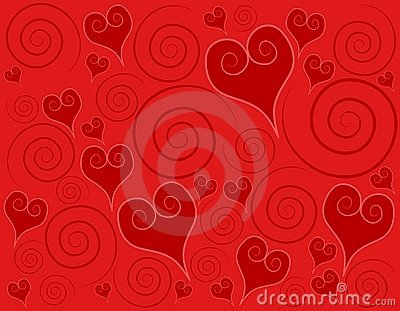 Decorative Red Hearts Swirls Background