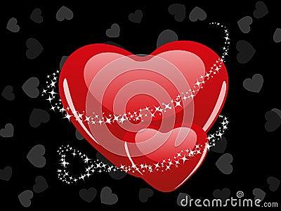 Decorative red love hearts