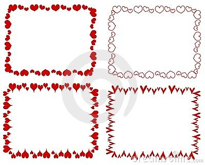 Decorative Red Rectangle Hearts Borders