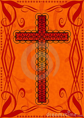 Decorative red religious cross