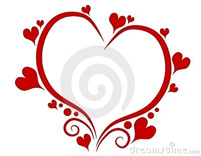 clip art illustration featuring a decorative red outline of a heart ...