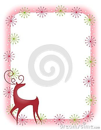 Decorative Retro Reindeer Border