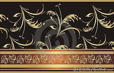 Decorative ribbon on the floral background