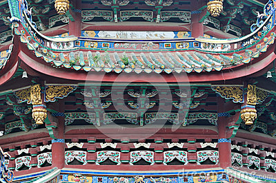 Decorative roof and eave in Buddhism temple, China